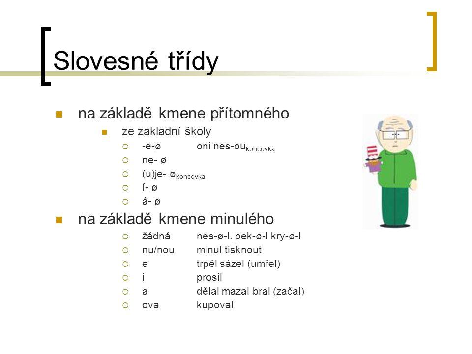 Slovesné třídy na základě kmene přítomného ze základní školy  -e-ø oni nes-ou koncovka  ne- ø  (u)je- ø koncovka  í- ø  á- ø na základě kmene min