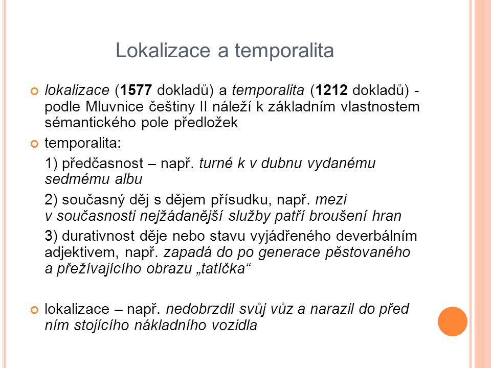 Lokalizace a temporalita lokalizace (1577 dokladů) a temporalita (1212 dokladů) - podle Mluvnice češtiny II náleží k základním vlastnostem sémantickéh