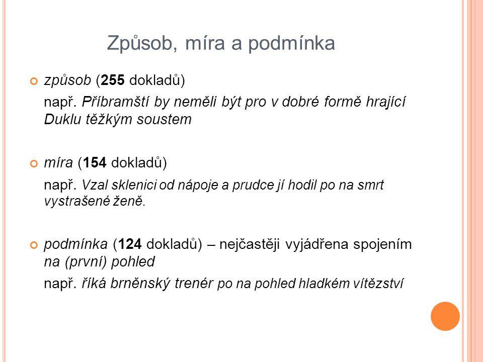Způsob, míra a podmínka způsob (255 dokladů) např. Příbramští by neměli být pro v dobré formě hrající Duklu těžkým soustem míra (154 dokladů) např. Vz