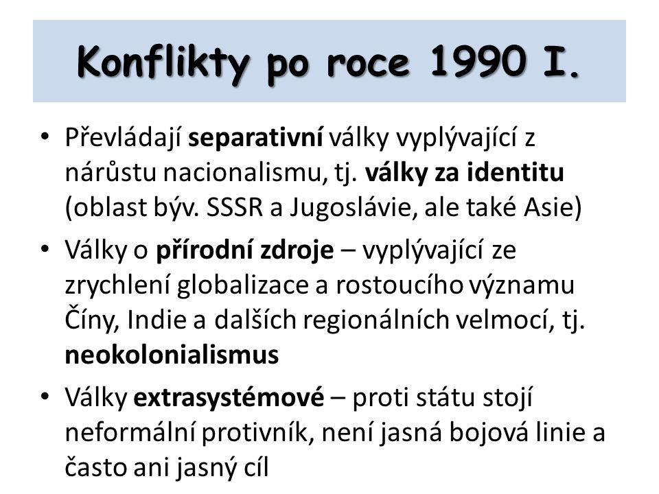 Konflikty po roce 1990 I.Převládají separativní války vyplývající z nárůstu nacionalismu, tj.