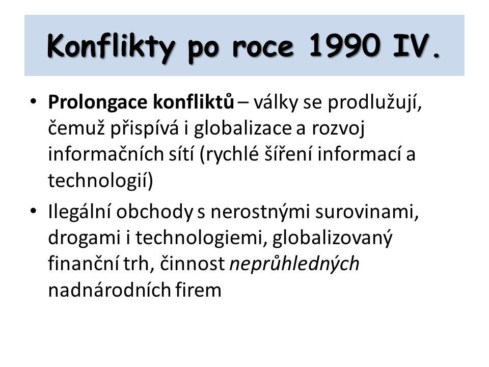 Konflikty po roce 1990 IV. Prolongace konfliktů – války se prodlužují, čemuž přispívá i globalizace a rozvoj informačních sítí (rychlé šíření informac