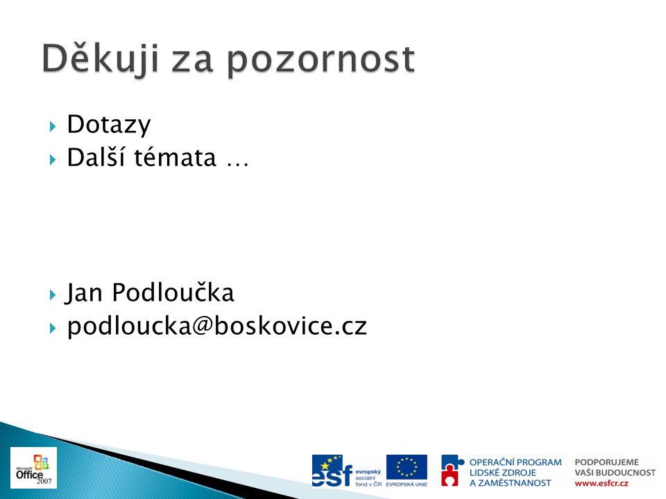  Dotazy  Další témata …  Jan Podloučka  podloucka@boskovice.cz