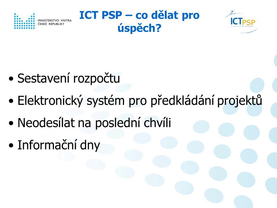Národní informační den, 23. 6. 2008, Praha 13 / 6 ICT PSP – co dělat pro úspěch.