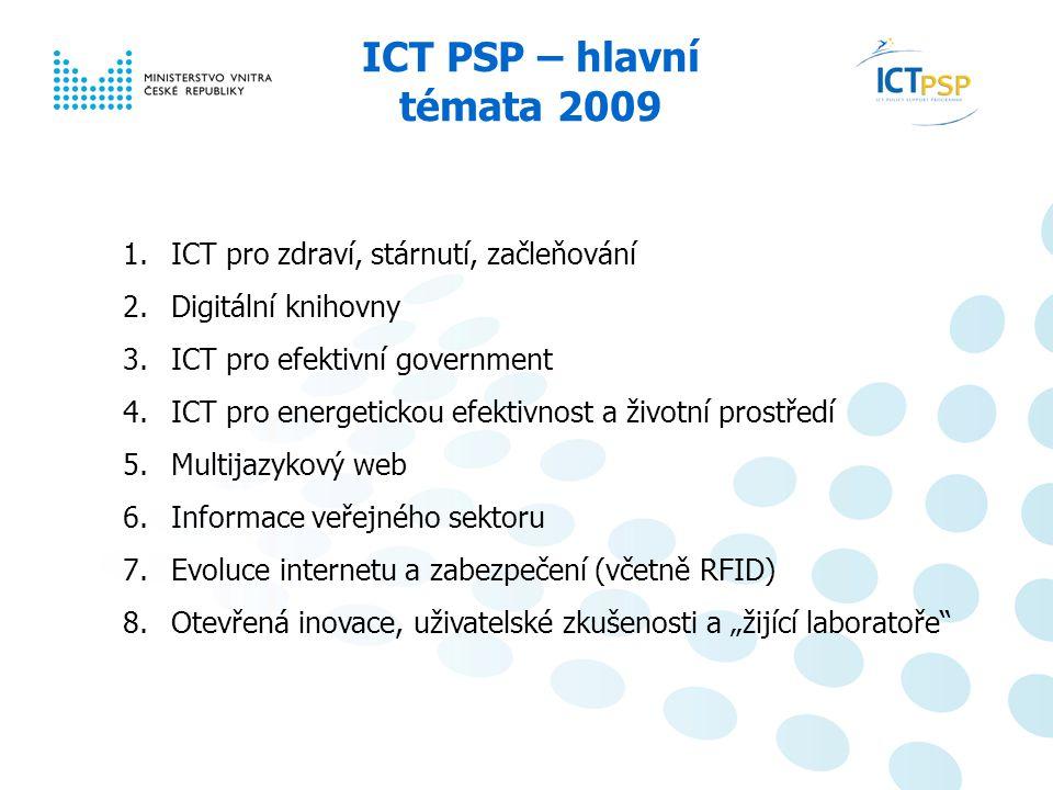 Národní informační den, 23. 6. 2008, Praha 6 / 6 ICT PSP – hlavní témata 2009 1.