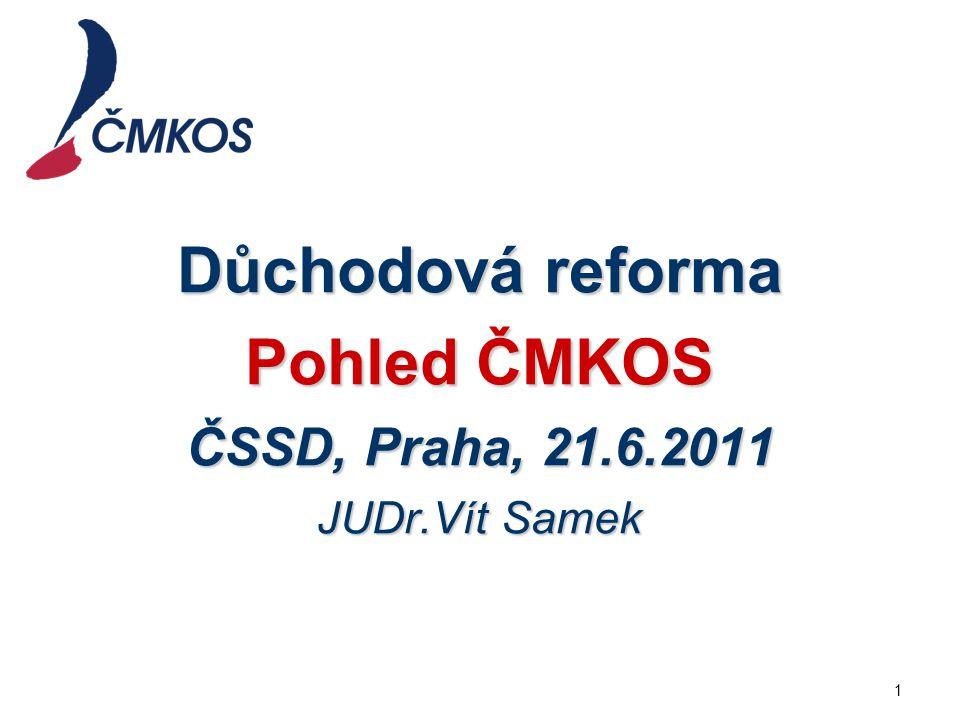 Důchodová reforma Pohled ČMKOS ČSSD, Praha, 21.6.2011 JUDr.Vít Samek 1