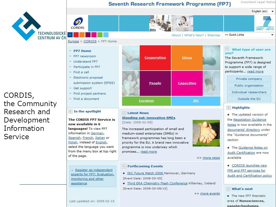 CORDIS, the Community Research and Development Information Service