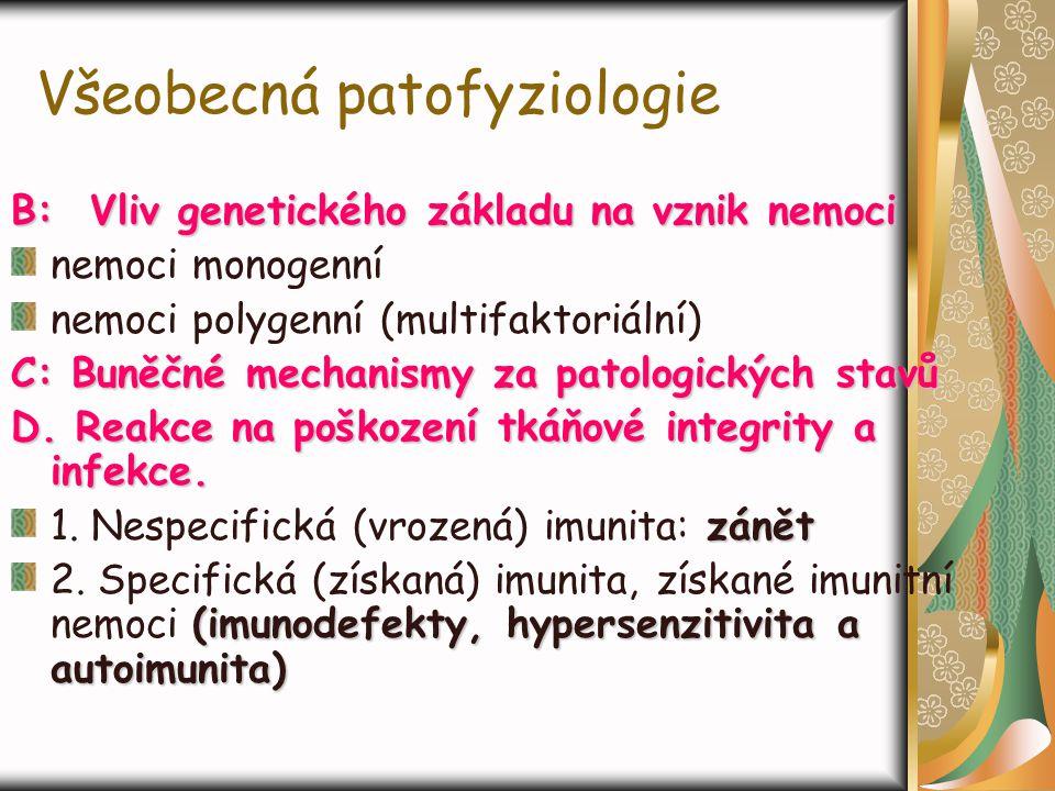 Všeobecná patofyziologie B: Vliv genetického základu na vznik nemoci nemoci monogenní nemoci polygenní (multifaktoriální) C: Buněčné mechanismy za pat