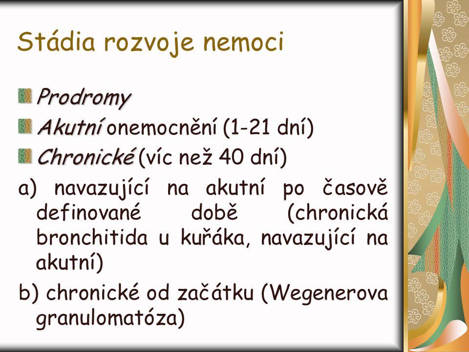 Stádia rozvoje nemoci Prodromy Akutní Akutní onemocnění (1-21 dní) Chronické Chronické (víc než 40 dní) a) navazující na akutní po časově definované d