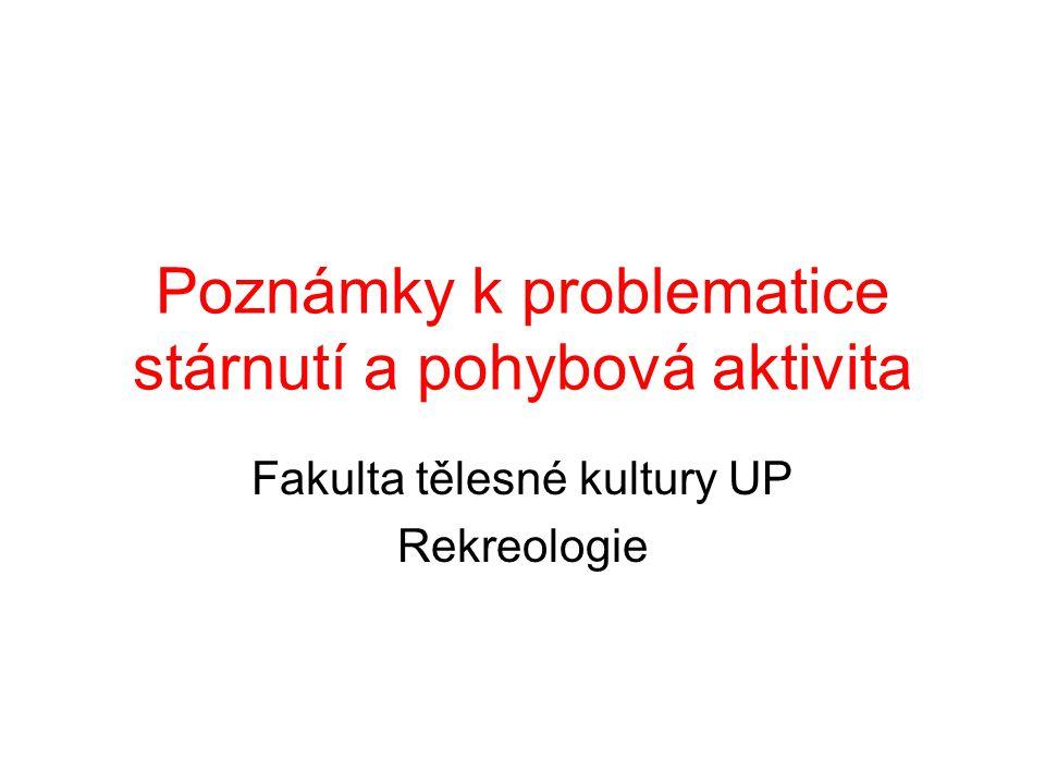 Poznámky k problematice stárnutí a pohybová aktivita Fakulta tělesné kultury UP Rekreologie