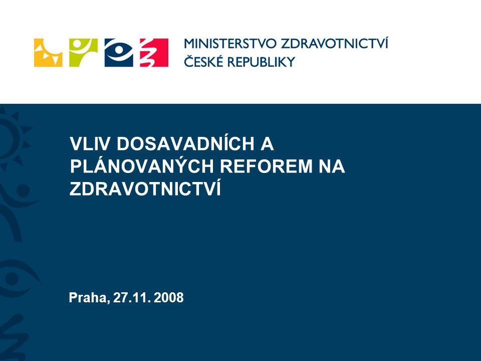 VLIV DOSAVADNÍCH A PLÁNOVANÝCH REFOREM NA ZDRAVOTNICTVÍ Praha, 27.11. 2008