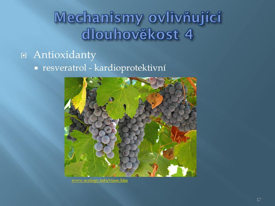  Antioxidanty  resveratrol - kardioprotektivní www.ecology.info/vines.htm 17