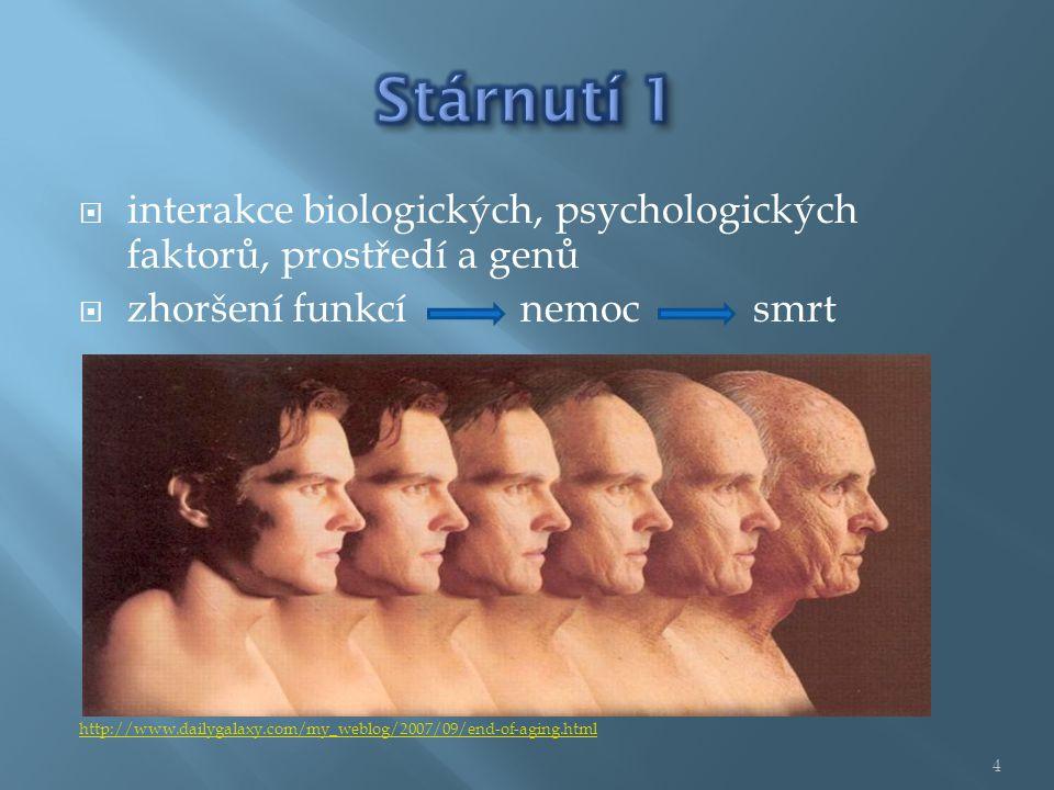  interakce biologických, psychologických faktorů, prostředí a genů  zhoršení funkcí nemoc smrt http://www.dailygalaxy.com/my_weblog/2007/09/end-of-aging.html 4
