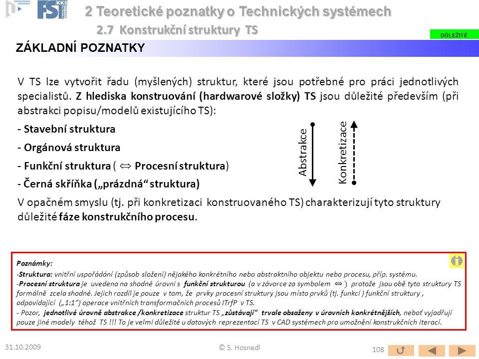V TS lze vytvořit řadu (myšlených) struktur, které jsou potřebné pro práci jednotlivých specialistů. Z hlediska konstruování (hardwarové složky) TS js
