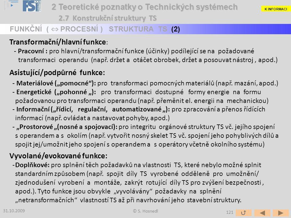 Transformační/hlavní funkce : - Pracovní : pro hlavní/transformační funkce (účinky) podílející se na požadované transformaci operandu (např. držet a o