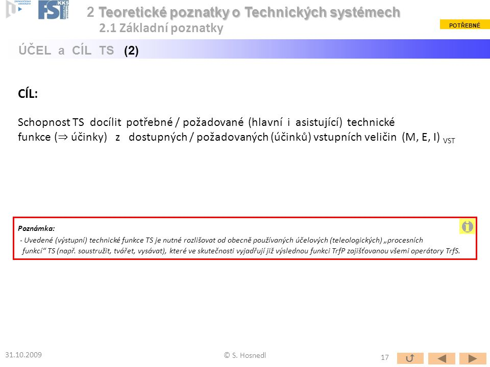Schopnost TS docílit potřebné / požadované (hlavní i asistující) technické funkce ( ⇒ účinky) z dostupných / požadovaných (účinků) vstupních veličin (