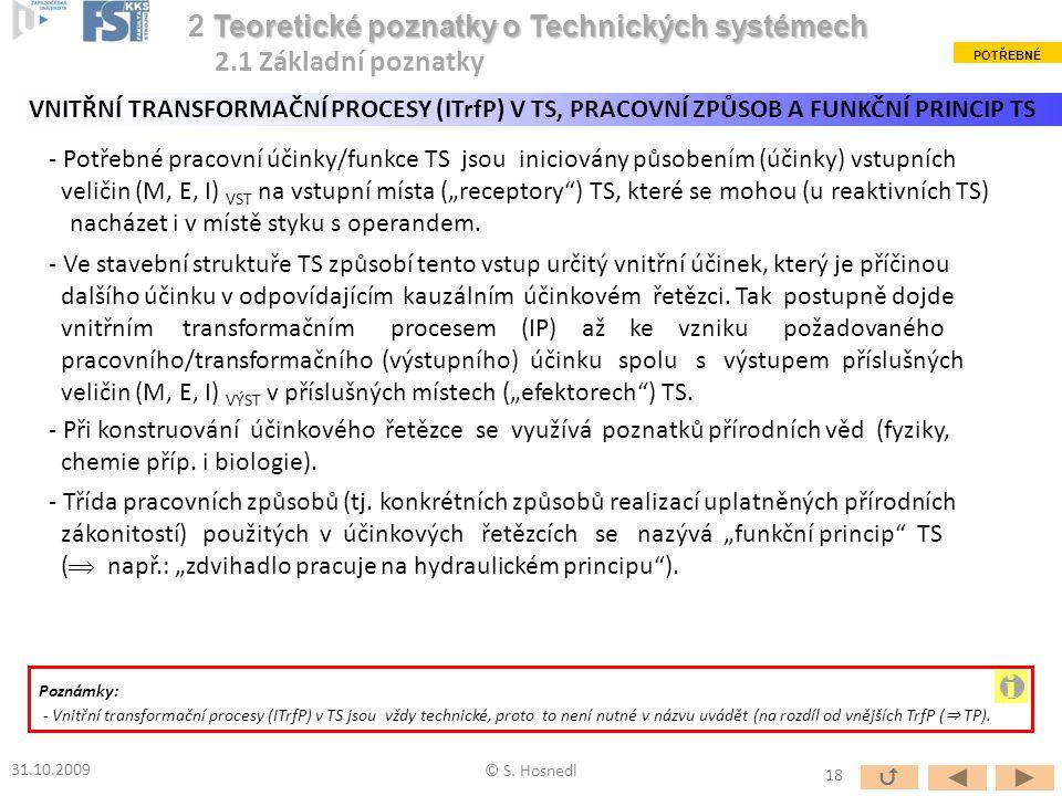 """- Potřebné pracovní účinky/funkce TS jsou iniciovány působením (účinky) vstupních veličin (M, E, I) VST na vstupní místa (""""receptory"""") TS, které se mo"""