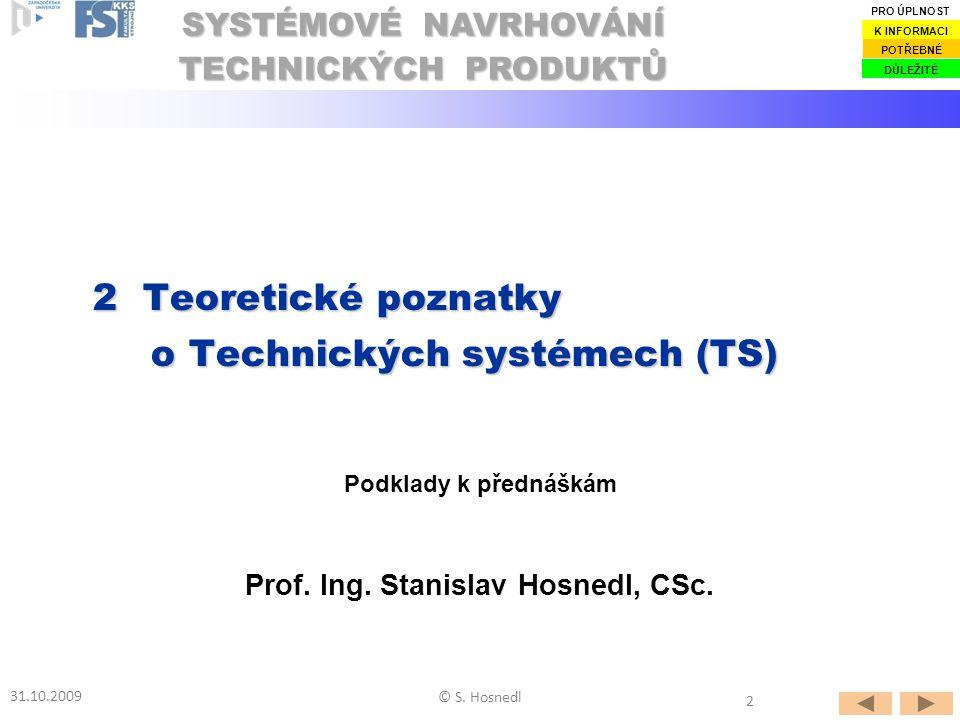 2.1Základní poznatky 2.1 Základní poznatky 2.2Životní etapy TS jako TrfS 2.2 Životní etapy TS jako TrfS 2.3Vlastnosti a chování TS 2.3 Vlastnosti a chování TS 2.5Vztahy mezi vlastnostmi TS 2.5 Vztahy mezi vlastnostmi TS 2.6Kvalita a konkurenceschopnost TS 2.6 Kvalita a konkurenceschopnost TS 2.7Konstrukční struktury TS 2.7 Konstrukční struktury TS 2.8Taxonomie TS 2.8 Taxonomie TS OBSAH 2 Teoretické poznatky o Technických systémech (TS) 31.10.2009 2.4Taxonomie vlastností TS 2.4 Taxonomie vlastností TS © S.