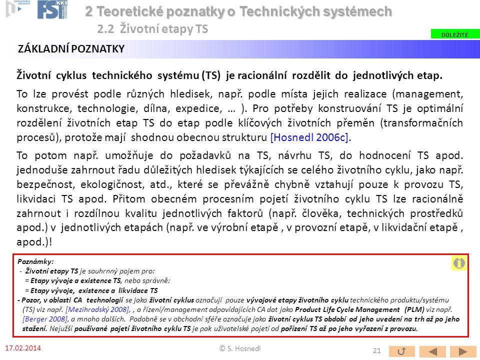 ZÁKLADNÍ POZNATKY Životní cyklus technického systému (TS) je racionální rozdělit do jednotlivých etap. To lze provést podle různých hledisek, např. po