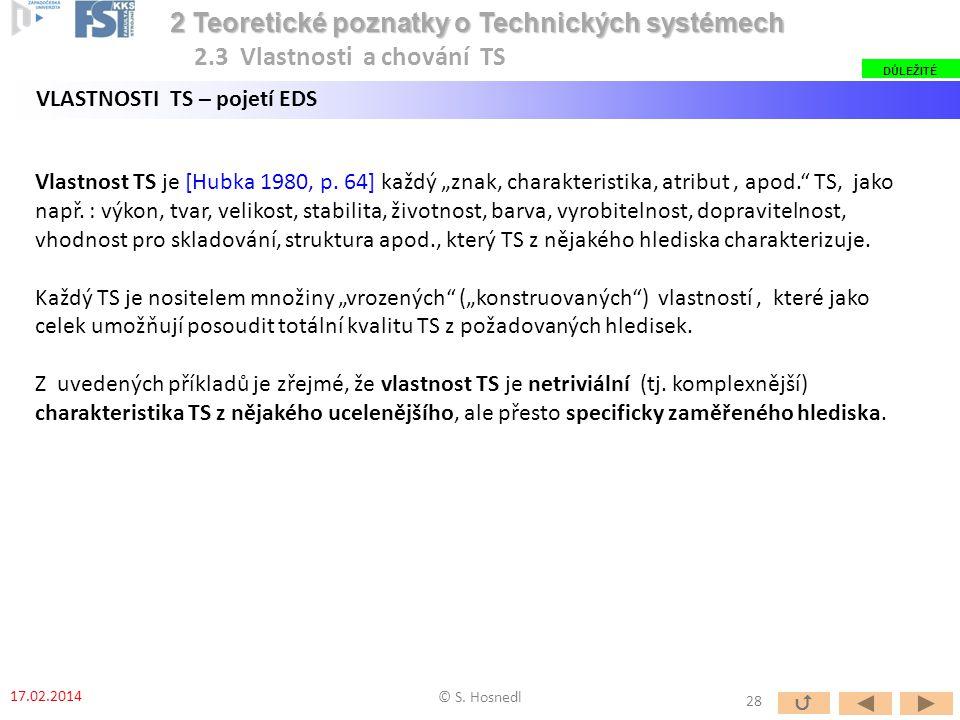"Vlastnost TS je [Hubka 1980, p. 64] každý ""znak, charakteristika, atribut, apod."" TS, jako např. : výkon, tvar, velikost, stabilita, životnost, barva,"
