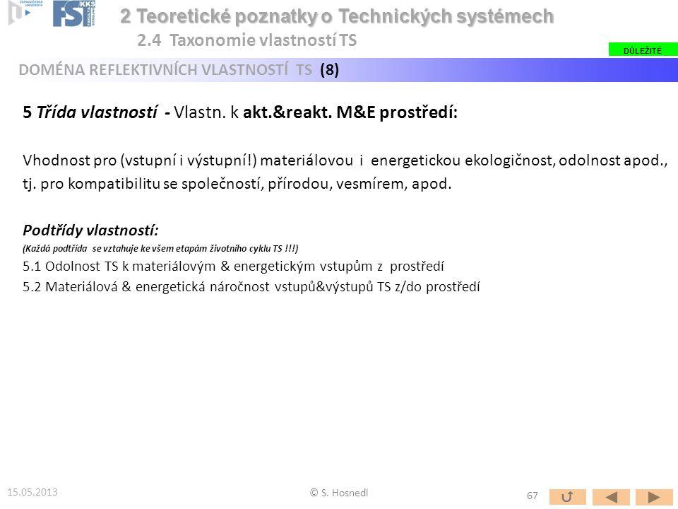 5 Třída vlastností - Vlastn. k akt.&reakt. M&E prostředí: Vhodnost pro (vstupní i výstupní!) materiálovou i energetickou ekologičnost, odolnost apod.,