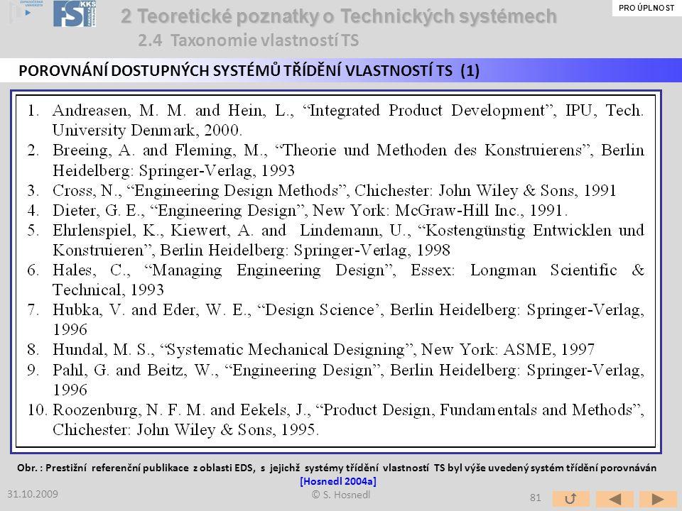 © S. Hosnedl 2 Teoretické poznatky o Technických systémech 2 Teoretické poznatky o Technických systémech POROVNÁNÍ DOSTUPNÝCH SYSTÉMŮ TŘÍDĚNÍ VLASTNOS