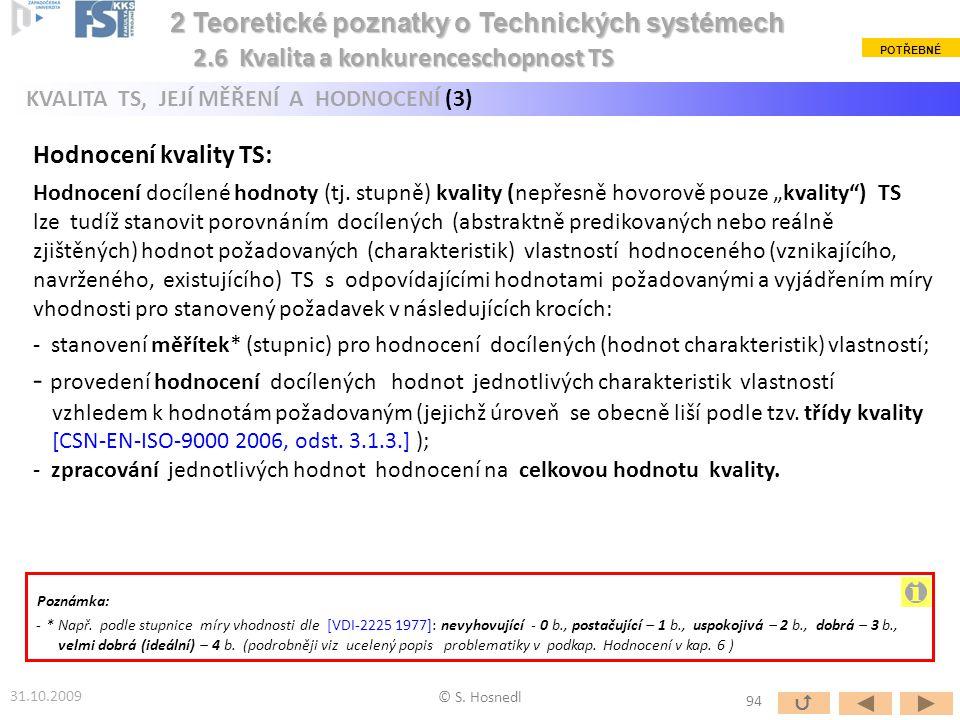© S. Hosnedl 31.10.2009 2 Teoretické poznatky o Technických systémech 2 Teoretické poznatky o Technických systémech Hodnocení kvality TS: Hodnocení do