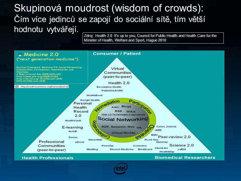 Skupinová moudrost (wisdom of crowds): Čím více jedinců se zapojí do sociální sítě, tím větší hodnotu vytvářejí.
