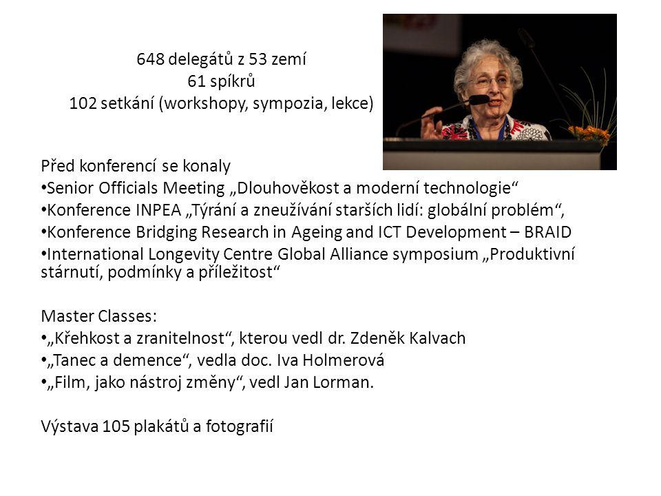 """648 delegátů z 53 zemí 61 spíkrů 102 setkání (workshopy, sympozia, lekce) Před konferencí se konaly Senior Officials Meeting """"Dlouhověkost a moderní technologie Konference INPEA """"Týrání a zneužívání starších lidí: globální problém , Konference Bridging Research in Ageing and ICT Development – BRAID International Longevity Centre Global Alliance symposium """"Produktivní stárnutí, podmínky a příležitost Master Classes: """"Křehkost a zranitelnost , kterou vedl dr."""