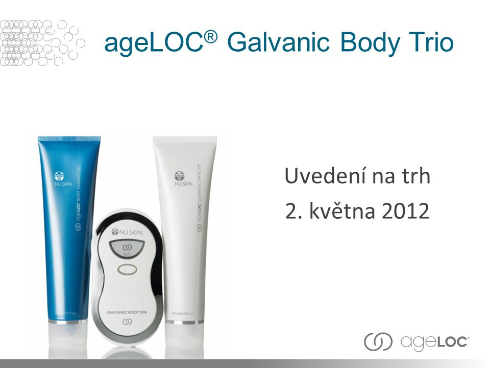 ageLOC ® Galvanic Body Trio Uvedení na trh 2. května 2012