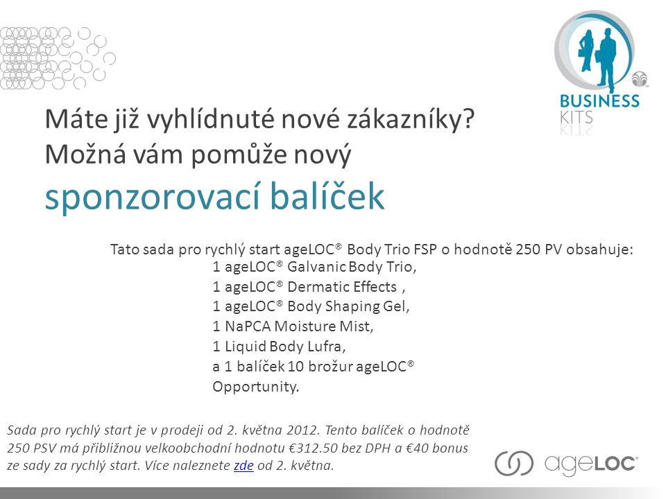 Tato sada pro rychlý start ageLOC® Body Trio FSP o hodnotě 250 PV obsahuje: Máte již vyhlídnuté nové zákazníky? Možná vám pomůže nový sponzorovací bal