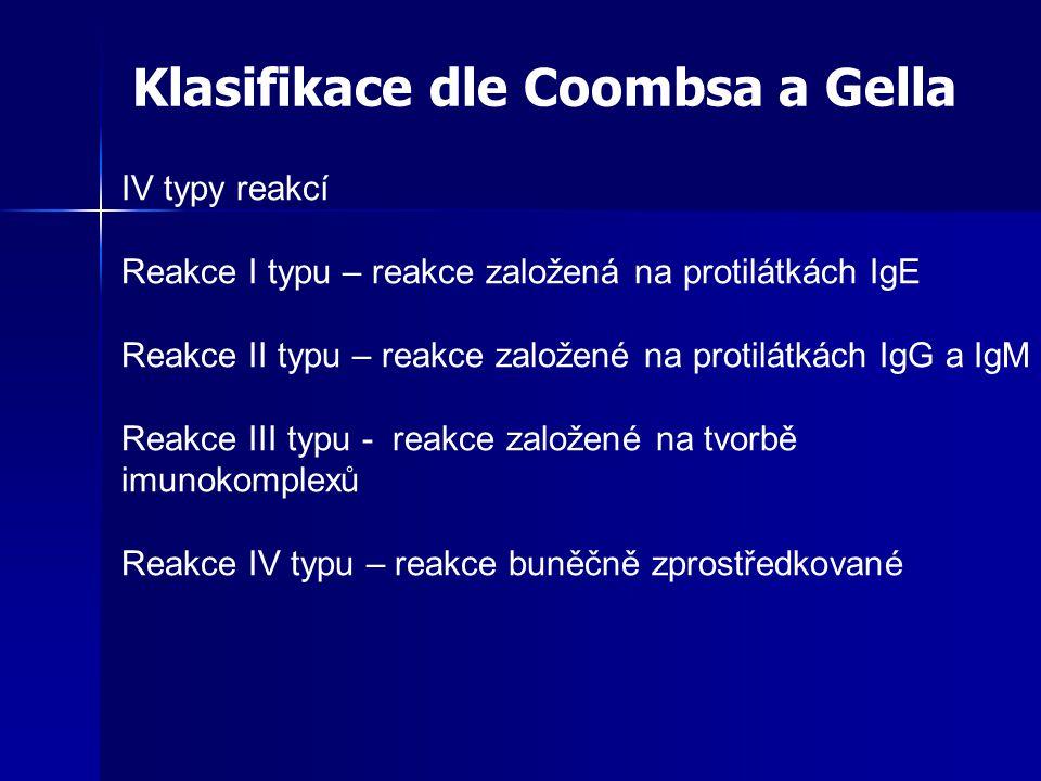 IV typy reakcí Reakce I typu – reakce založená na protilátkách IgE Reakce II typu – reakce založené na protilátkách IgG a IgM Reakce III typu - reakce založené na tvorbě imunokomplexů Reakce IV typu – reakce buněčně zprostředkované Klasifikace dle Coombsa a Gella