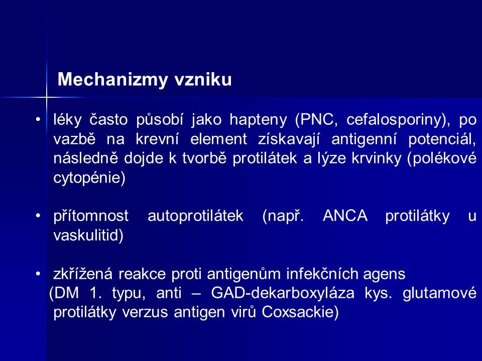Mechanizmy vzniku léky často působí jako hapteny (PNC, cefalosporiny), po vazbě na krevní element získavají antigenní potenciál, následně dojde k tvorbě protilátek a lýze krvinky (polékové cytopénie) přítomnost autoprotilátek (např.