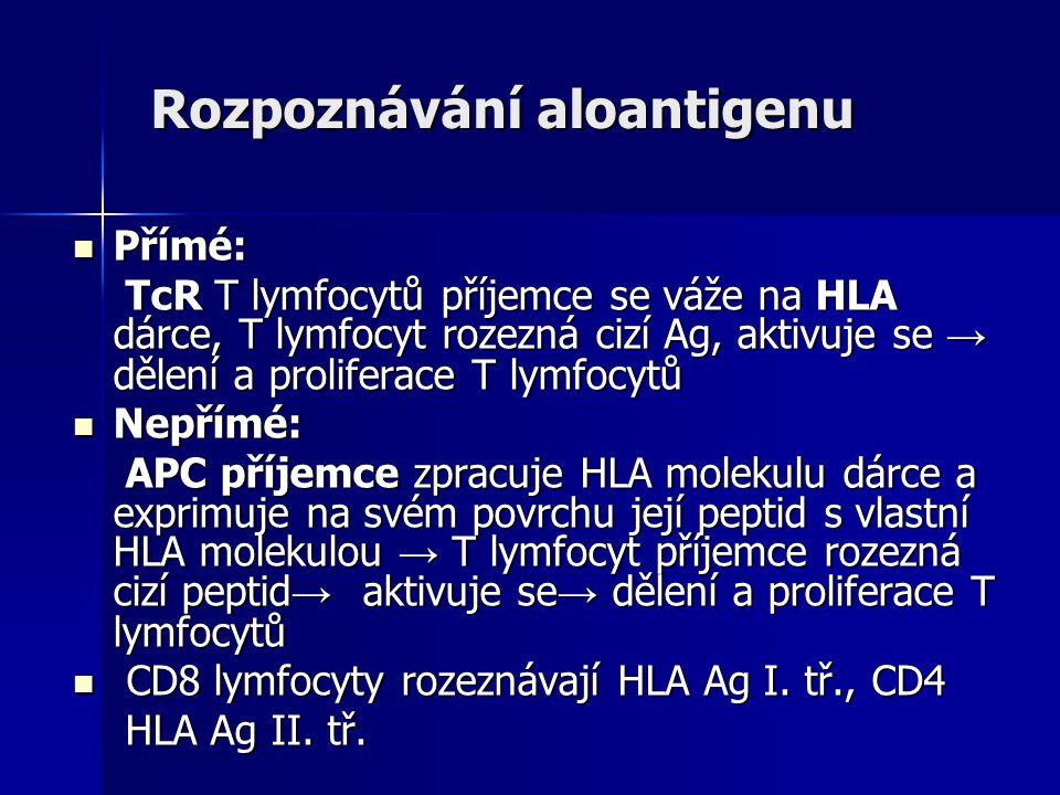 Rozpoznávání aloantigenu Přímé: Přímé: TcR T lymfocytů příjemce se váže na HLA dárce, T lymfocyt rozezná cizí Ag, aktivuje se → dělení a proliferace T lymfocytů TcR T lymfocytů příjemce se váže na HLA dárce, T lymfocyt rozezná cizí Ag, aktivuje se → dělení a proliferace T lymfocytů Nepřímé: Nepřímé: APC příjemce zpracuje HLA molekulu dárce a exprimuje na svém povrchu její peptid s vlastní HLA molekulou → T lymfocyt příjemce rozezná cizí peptid → aktivuje se → dělení a proliferace T lymfocytů APC příjemce zpracuje HLA molekulu dárce a exprimuje na svém povrchu její peptid s vlastní HLA molekulou → T lymfocyt příjemce rozezná cizí peptid → aktivuje se → dělení a proliferace T lymfocytů CD8 lymfocyty rozeznávají HLA Ag I.