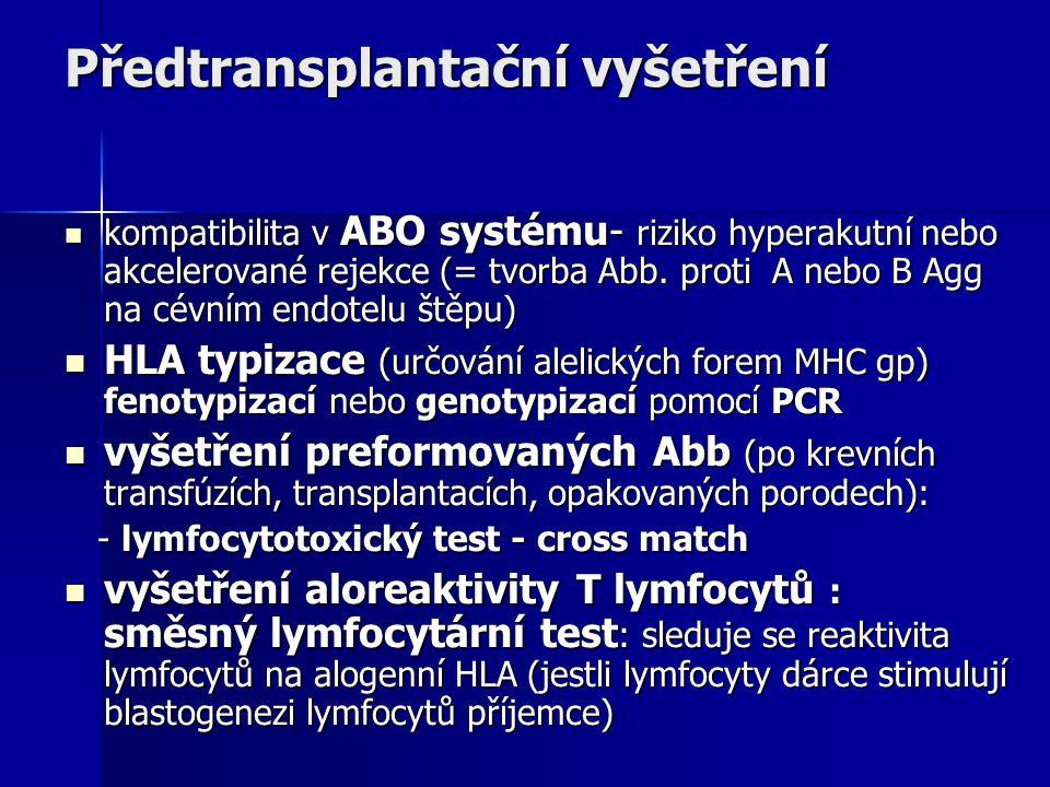 Předtransplantační vyšetření kompatibilita v ABO systému- riziko hyperakutní nebo akcelerované rejekce (= tvorba Abb.