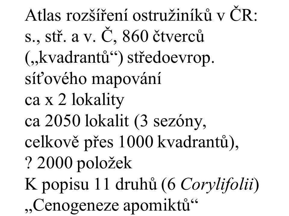 """Atlas rozšíření ostružiníků v ČR: s., stř. a v. Č, 860 čtverců (""""kvadrantů ) středoevrop."""