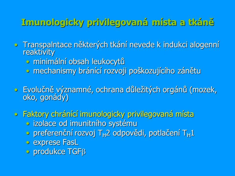 Imunologicky privilegovaná místa a tkáně Transpalntace některých tkání nevede k indukci alogenní reaktivityTranspalntace některých tkání nevede k indukci alogenní reaktivity minimální obsah leukocytůminimální obsah leukocytů mechanismy bránící rozvoji poškozujícího zánětumechanismy bránící rozvoji poškozujícího zánětu Evolučně významné, ochrana důležitých orgánů (mozek, oko, gonády)Evolučně významné, ochrana důležitých orgánů (mozek, oko, gonády) Faktory chránící imunologicky privilegovaná místaFaktory chránící imunologicky privilegovaná místa izolace od imunitního systémuizolace od imunitního systému preferenční rozvoj T H 2 odpovědi, potlačení T H 1preferenční rozvoj T H 2 odpovědi, potlačení T H 1 exprese FasLexprese FasL produkce TGF produkce TGF 