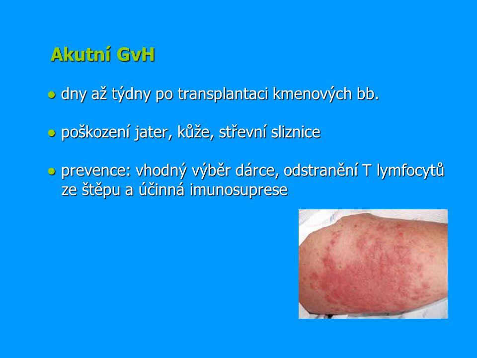 Akutní GvH ● dny až týdny po transplantaci kmenových bb. ● poškození jater, kůže, střevní sliznice ● prevence: vhodný výběr dárce, odstranění T lymfoc