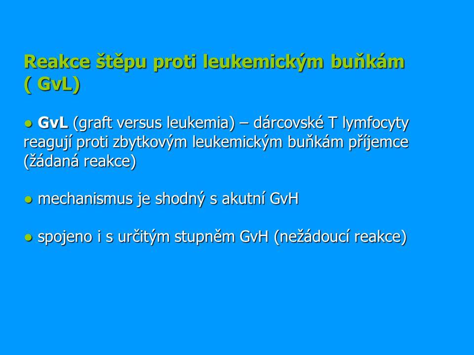 Reakce štěpu proti leukemickým buňkám ( GvL) ● GvL (graft versus leukemia) – dárcovské T lymfocyty reagují proti zbytkovým leukemickým buňkám příjemce (žádaná reakce) ● mechanismus je shodný s akutní GvH ● spojeno i s určitým stupněm GvH (nežádoucí reakce)