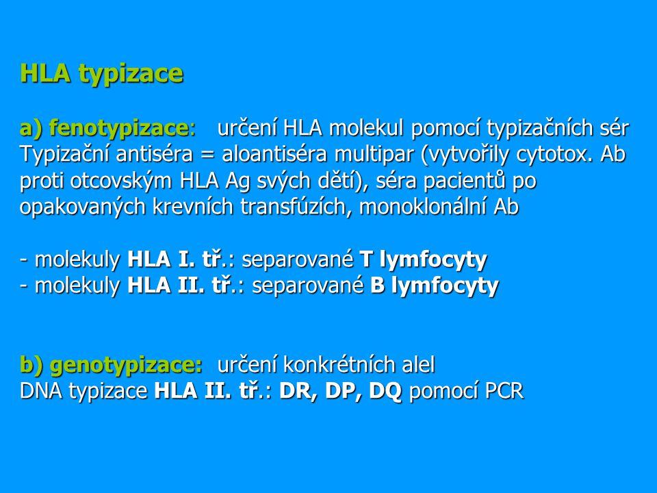 HLA typizace a) fenotypizace: určení HLA molekul pomocí typizačních sér Typizační antiséra = aloantiséra multipar (vytvořily cytotox.