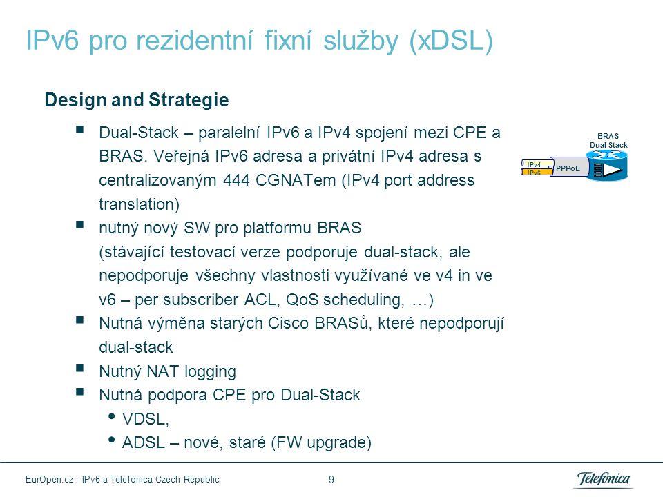 IPv6 pro rezidentní fixní služby (xDSL) Design and Strategie  Dual-Stack – paralelní IPv6 a IPv4 spojení mezi CPE a BRAS. Veřejná IPv6 adresa a privá
