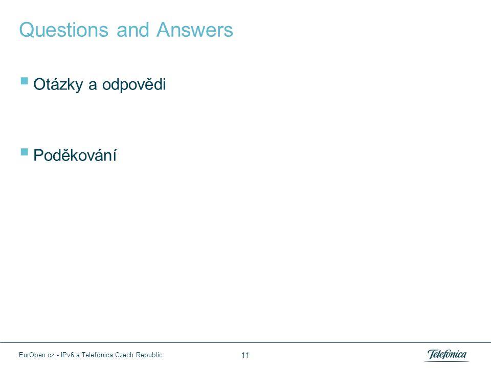 Questions and Answers  Otázky a odpovědi  Poděkování 11 EurOpen.cz - IPv6 a Telefónica Czech Republic