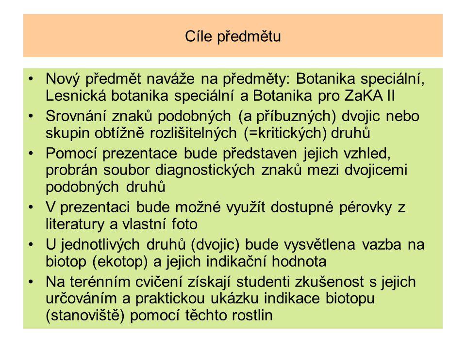 Cíle předmětu Nový předmět naváže na předměty: Botanika speciální, Lesnická botanika speciální a Botanika pro ZaKA II Srovnání znaků podobných (a příb