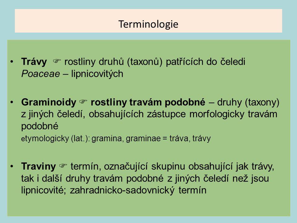 Terminologie Trávy  rostliny druhů (taxonů) patřících do čeledi Poaceae – lipnicovitých Graminoidy  rostliny travám podobné – druhy (taxony) z jinýc
