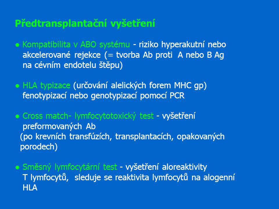 Předtransplantační vyšetření ● Kompatibilita v ABO systému - riziko hyperakutní nebo akcelerované rejekce (= tvorba Ab proti A nebo B Ag na cévním end