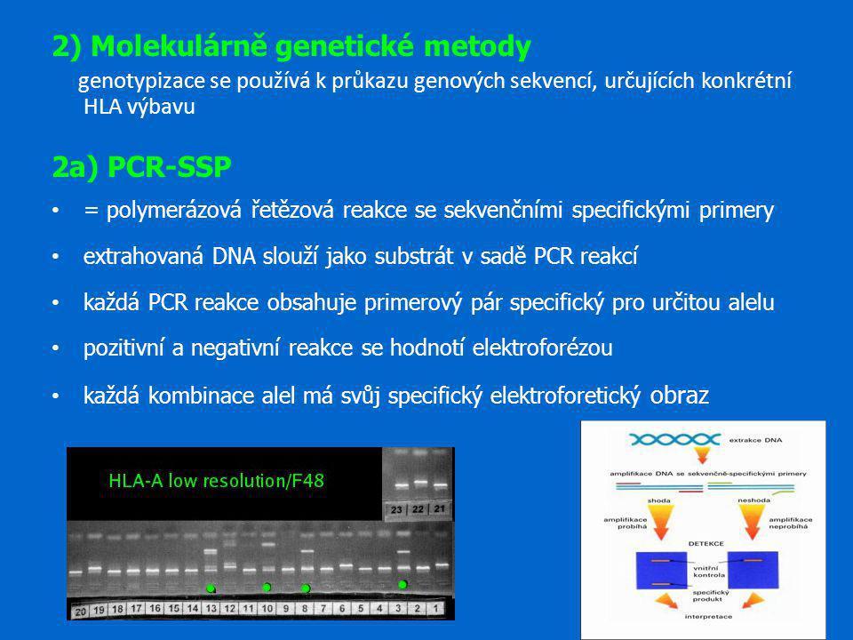 2) Molekulárně genetické metody genotypizace se používá k průkazu genových sekvencí, určujících konkrétní HLA výbavu 2a) PCR-SSP = polymerázová řetězo