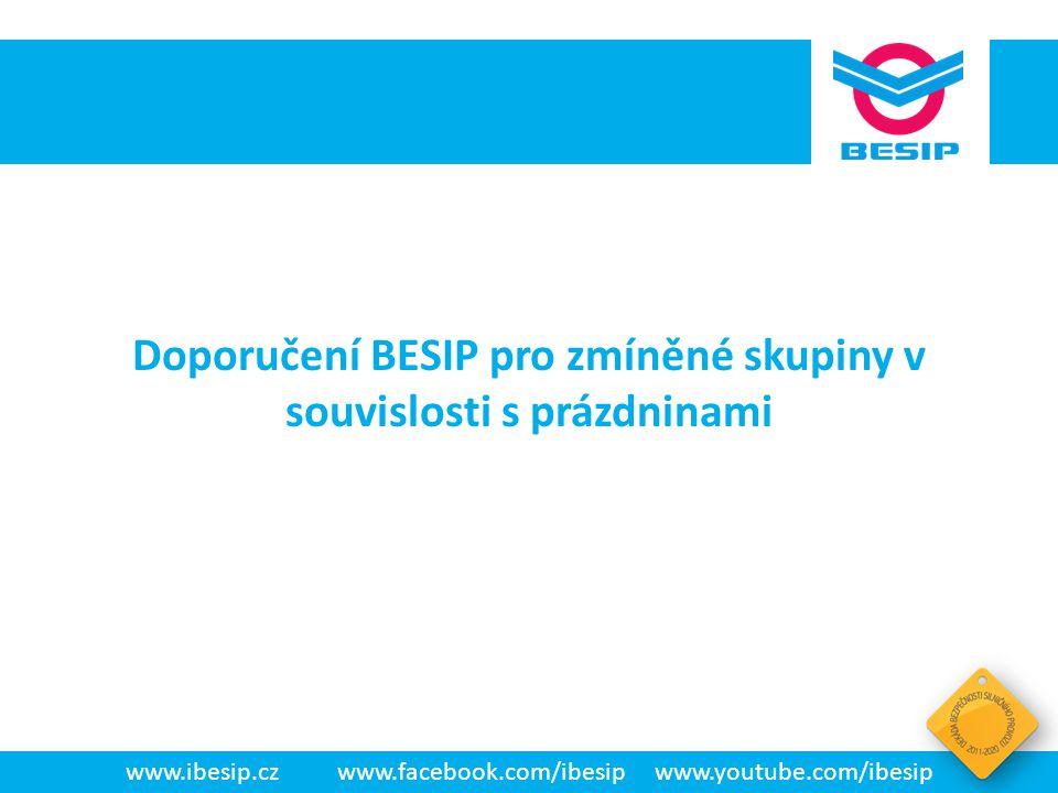 BESIP v ČR - realita www.ibesip.czwww.facebook.com/ibesipwww.youtube.com/ibesip Doporučení BESIP pro zmíněné skupiny v souvislosti s prázdninami