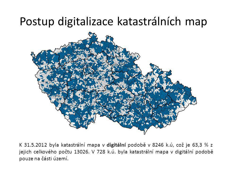 Postup digitalizace katastrálních map K 31.5.2012 byla katastrální mapa v digitální podobě v 8246 k.ú, což je 63,3 % z jejich celkového počtu 13026.