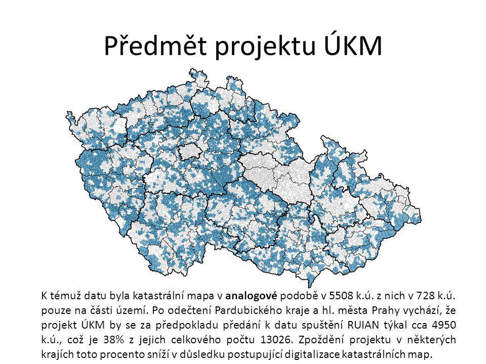 Předmět projektu ÚKM K témuž datu byla katastrální mapa v analogové podobě v 5508 k.ú.