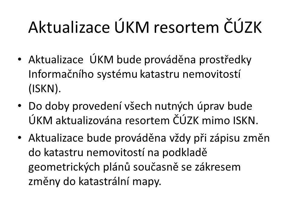 Poskytování dat Poskytování aktualizované ÚKM krajským úřadům – v pravidelných intervalech – výkresy vygenerované z vektorové orientační mapy parcel vedené v ISKN.