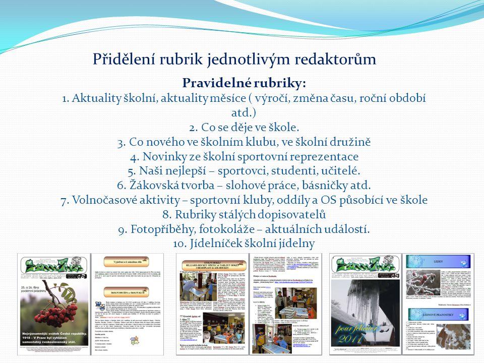 Přidělení rubrik jednotlivým redaktorům Pravidelné rubriky: 1.